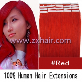 "24"" 70g Tape Human Hair Extensions #red"