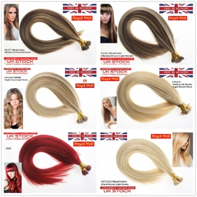 "UK Stock Mixed Color Double Drawn 100S 16""-22"" Stick tip hair 1g/s human hair extensions"